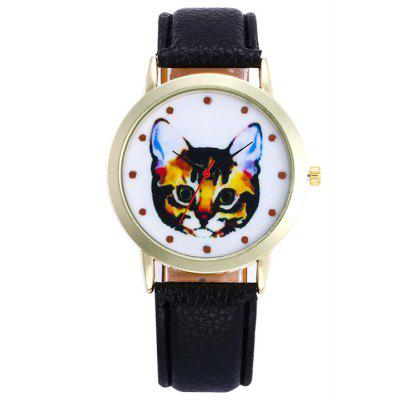Buy BLACK Faux Leather Cartoon Cat Analog Watch for $5.78 in GearBest store