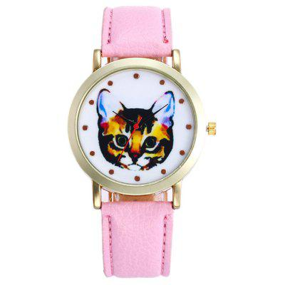 Buy PINK Faux Leather Cartoon Cat Analog Watch for $5.78 in GearBest store