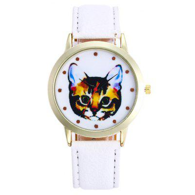Buy WHITE Faux Leather Cartoon Cat Analog Watch for $5.78 in GearBest store