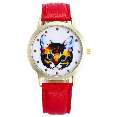 Buy RED Faux Leather Cartoon Cat Analog Watch for $5.78 in GearBest store