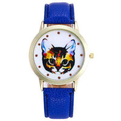 Buy ROYAL Faux Leather Cartoon Cat Analog Watch for $5.78 in GearBest store