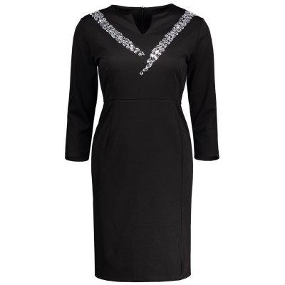 Buy BLACK 2XL High Waist Notched Collar Rhinestone Slit Sheath Dress for $33.72 in GearBest store
