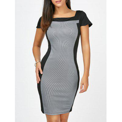 Square Collar Striped Work Fitted Bodycon Dress