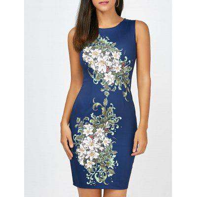 Buy CERULEAN M Short Bodycon Sleeveless Floral Dress for $19.70 in GearBest store