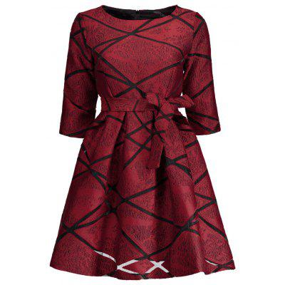 Buy RED M Belted High Waist Jacquard Flare Mini Dress for $31.16 in GearBest store