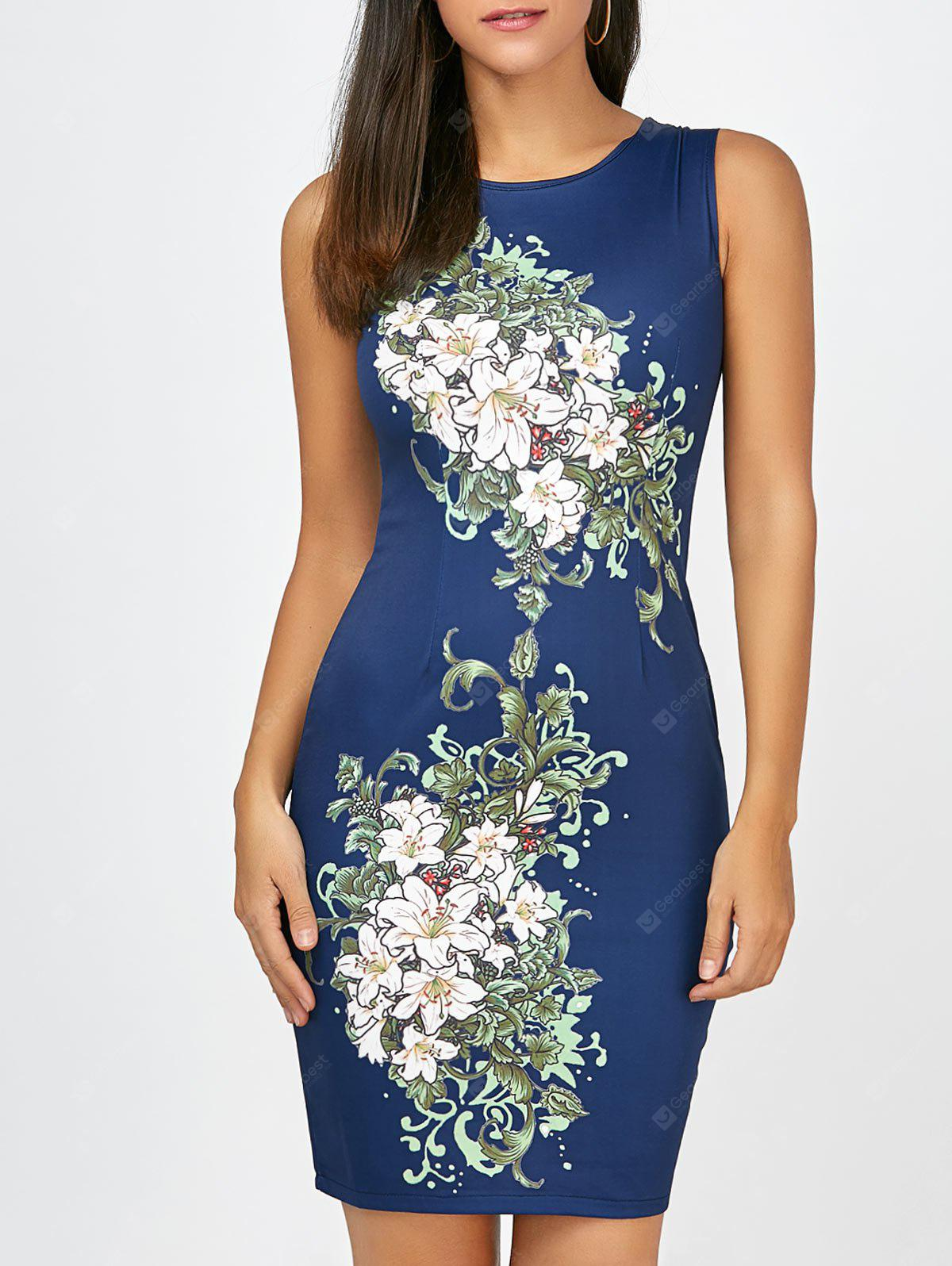 CERULEAN L Short Bodycon Sleeveless Floral Dress