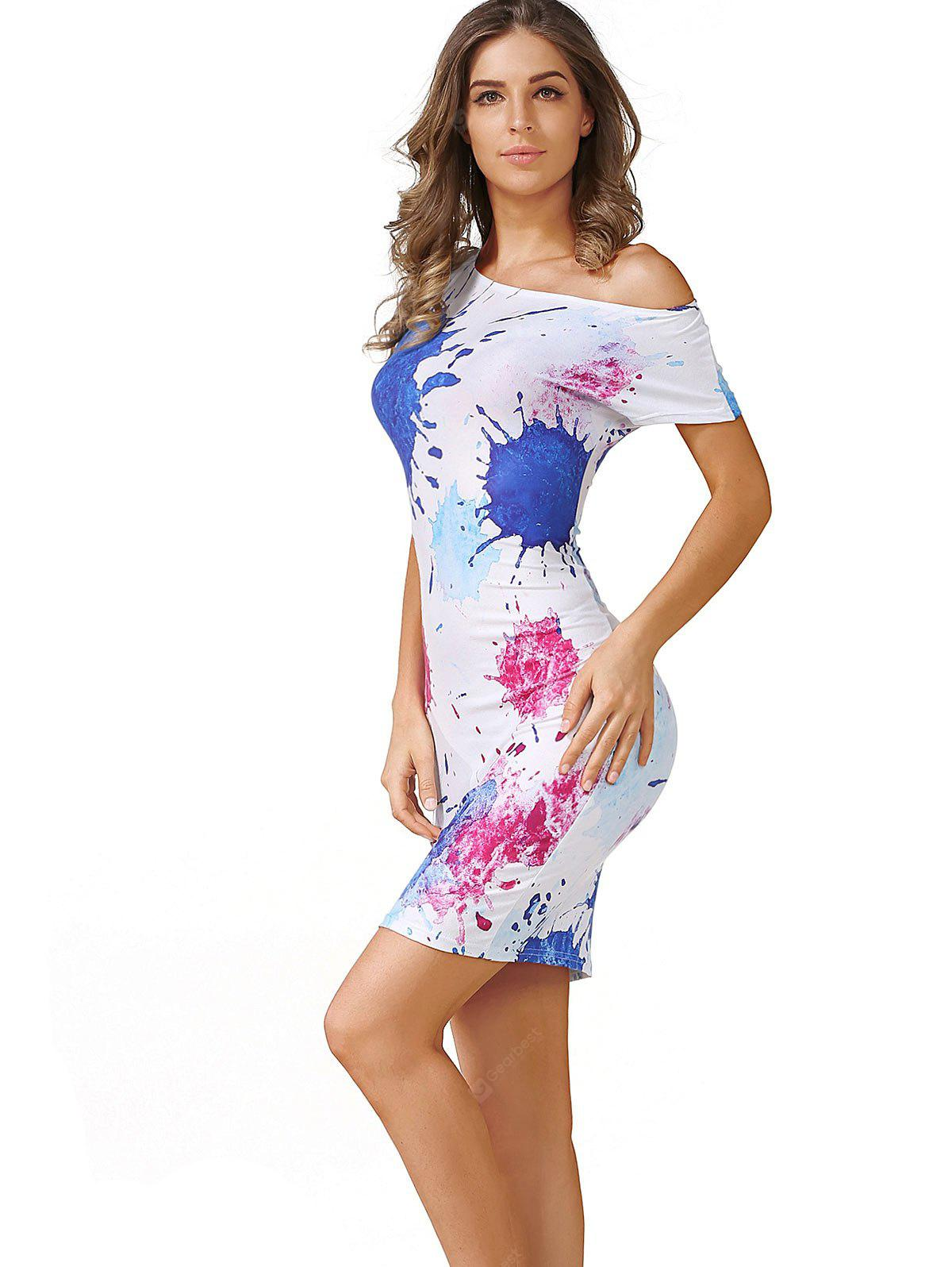 COLORMIX L Paint Splatter Bodycon Dress