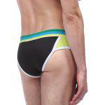 Color Block Panel U Convex Pouch Band Briefs - BLACK