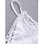 Spaghetti Straps Lace Knickers and Bra Set - WHITE