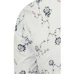 Branch and Flowers Pattern Long Sleeve Shirt - WHITE