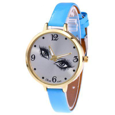 Buy AZURE YBOTTI Faux Leather Quartz Watch with Pretty Eyes for $6.83 in GearBest store