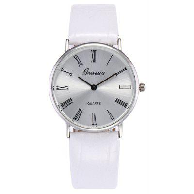 Faux Leather Strap Roman Numerals Watch