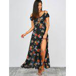 Buy Cold Shoulder Floral Print Slit Maxi Summer Dress MULTI