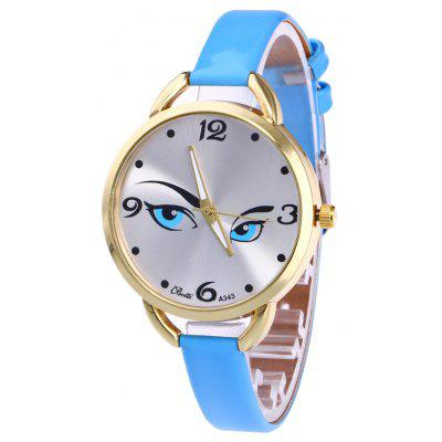 Buy AZURE YBOTTI Faux Leather Band Watch with Pretty Glance for $6.83 in GearBest store