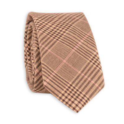 Cotton Blend Plaid Pattern Tie