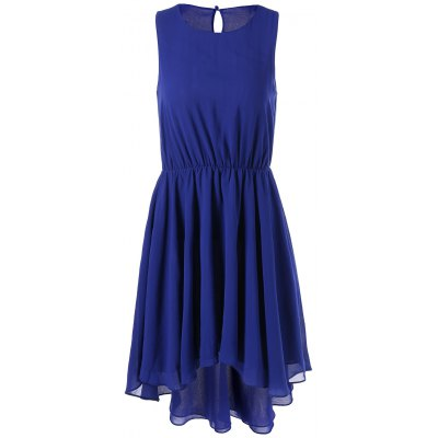 Sleeveless Elastic Waist High Low Hem Dress
