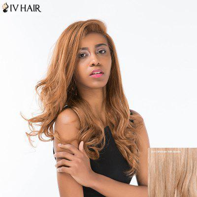 Buy BROWN WITH BLONDE Siv Hair Long Shaggy Wavy Side Part Lace Front Human Hair Wig for $131.11 in GearBest store
