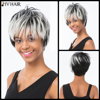 Buy COLORMIX Siv Hair Pixie Colormix Short Side Bang Straight Layered Human Hair Wig for $56.75 in GearBest store