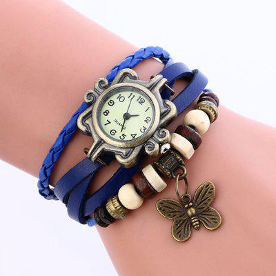 Buy BLUE Faux Leather Strap Analog Vintage Bracelet Watch for $5.45 in GearBest store