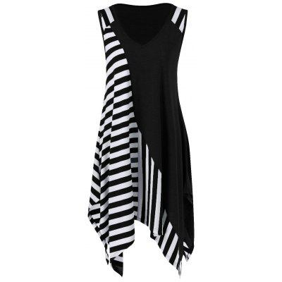 Buy WHITE AND BLACK L Striped Long Handkerchief Sleeveless Flowy T-Shirt for $16.70 in GearBest store