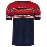 Crew Neck Graphic Short Sleeve Jumper - WINE RED