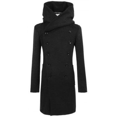 Longline Double Breasted Hooded Woolen Coat