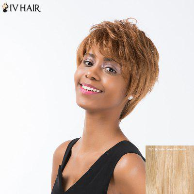 Buy GOLDEN BROWN WITH BLONDE Siv Hair Short Layered Straight Inclined Bang Pixie Human Hair Wig for $56.75 in GearBest store