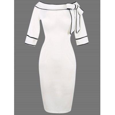 Buy WHITE 2XL Boat Neck Bowknot Embellished Pencli Dress for $22.96 in GearBest store