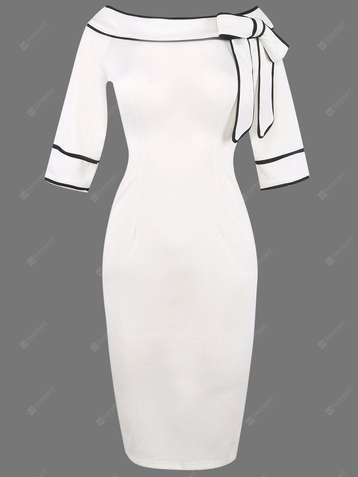 WHITE XL Boat Neck Bowknot Embellished Pencli Dress