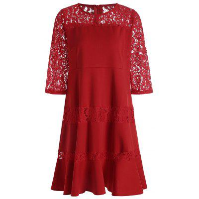 Buy RED 3XL Lace Insert Plus Size Knee Length Dress for $29.27 in GearBest store