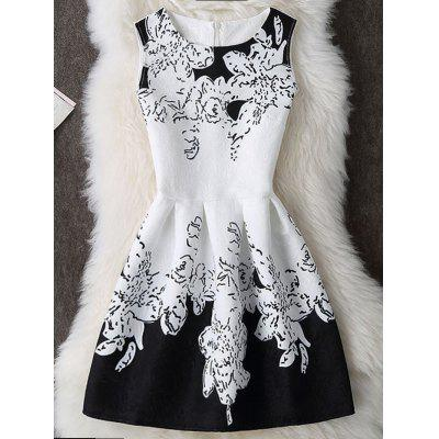 Buy WHITE AND BLACK L Color Block Mini Sleeveless Dress for $18.72 in GearBest store