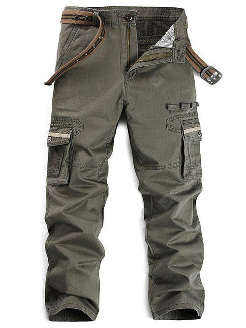 Selvedge Embellished Zipper Fly Pockets Cargo Pants 34 GRAY