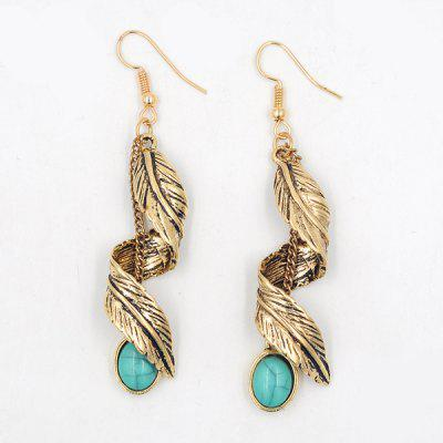 Buy Artificial Turquoise Alloy Leaf Earrings GOLDEN Watches & Jewelry > Fashion Jewelry > Earrings for $4.70 in GearBest store