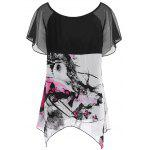 Plus Size Chiffon Butterfly Print Top - BLACK