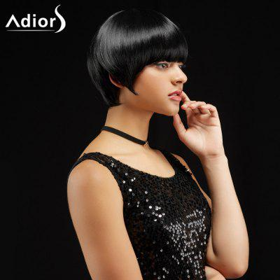 Buy BLACK Adiors Short Silky Straight Haircut Neat Bang Synthetic Wig for $17.87 in GearBest store