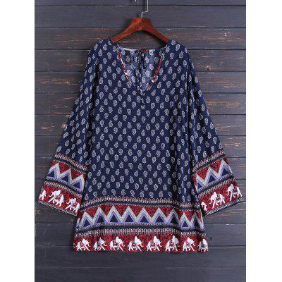 Buy PURPLISH BLUE M Zig Zag Printed Long Sleeve Dress for $19.70 in GearBest store