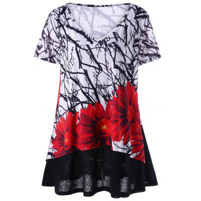 Long Plus Size Layered Floral T-Shirt