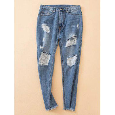 Buy DENIM BLUE S Frayed Hem Distressed Jeans for $32.97 in GearBest store