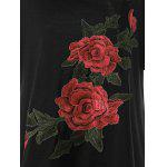 Embroidered Floral Plus Size Casual Long T-Shirt - EBONY