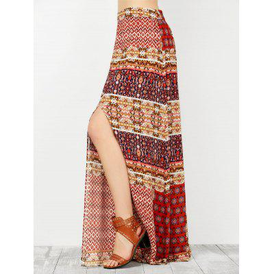 High Waisted African Print Slit Maxi Skirt