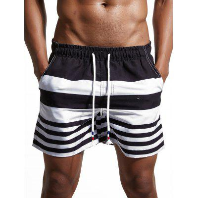 Stripes Panel Lace Up Swimming Shorts