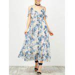 Maxi Cold Shoulder Floral Ruffle Cami Dress - COLORMIX