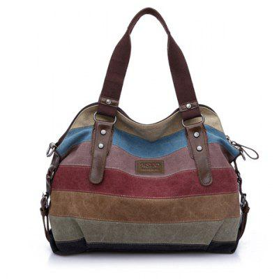 Buckle Strap Striped Canvas Bag