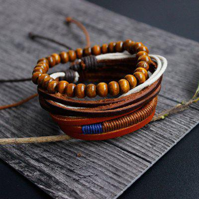 Layered Beaded Faux Leather Friendship Bracelets