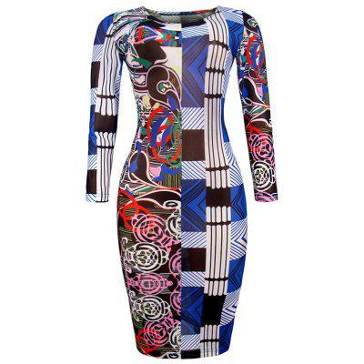 Buy BLUE 2XL Geometric Allover print Bodycon Dress for $22.50 in GearBest store