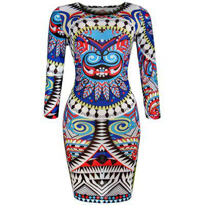 Buy BLUE M Slim Fit Geometric Print African Print Bodycon Dresses for $22.50 in GearBest store