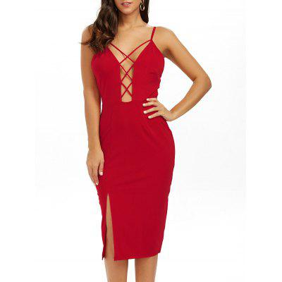 Buy RED S Low Cut Strappy Backless Slip Sheath Dress for $19.00 in GearBest store