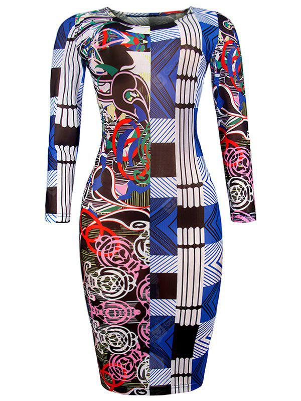 BLUE S Geometric Allover print Bodycon Dress