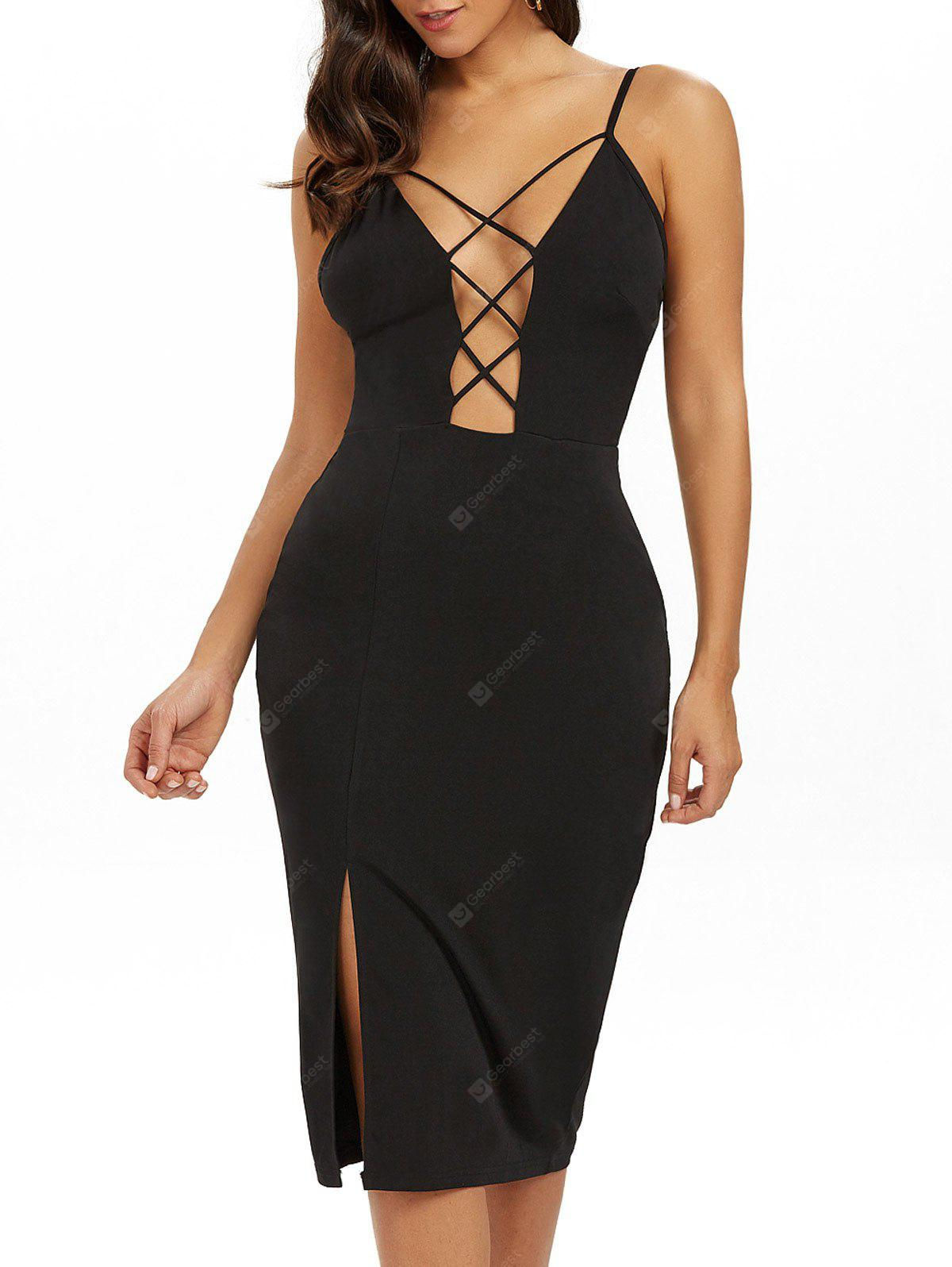 BLACK XS Low Cut Strappy Backless Slip Sheath Dress
