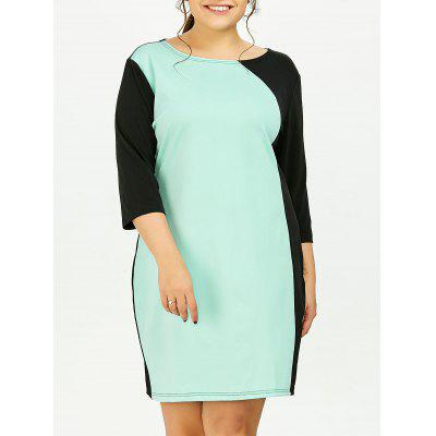 Buy LIGHT GREEN 3XL Plus Size Color Block Sheath Dress With Sleeves for $20.15 in GearBest store